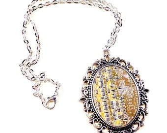 Cyberpunk pendant necklace circuitry electronic electropunk recycled computer board geek steampunk Victorian electric circuit