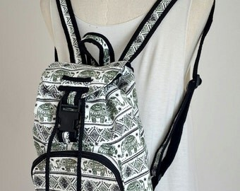 Everyday Hippie Backpack Boho Backpack Messenger Backpack Elephant Cotton Backpack Drawstring Backpack, Green