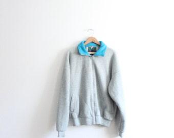 Sporty Grey 90s Fleece Jacket