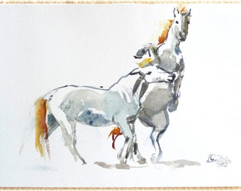 Original  watercolor CAMARGUE HORSES Stallions fight - wall art