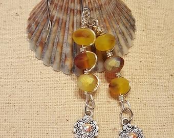 Frosty Yellow Mandala Earrings - Frosty Yellow Earrings - Mandala Earrings