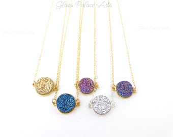 Druzy Necklace Silver, Purple Druzy Necklace, Small Druzy Pendant Necklace, Gold Drusy Jewelry, Agate Druzy Crystal Necklace, Gift For Her
