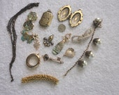 destash bead lot charms, pendant, chain, gold plated spacers, faux pearls . bead craft lot