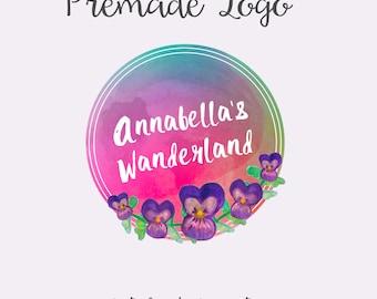 Watercolor Pansy Logo, Flower Watercolor Logo, Premade Logo, Blogger Logo, Watercolor Gradient Logo, Photography Logo, Small Business Logo