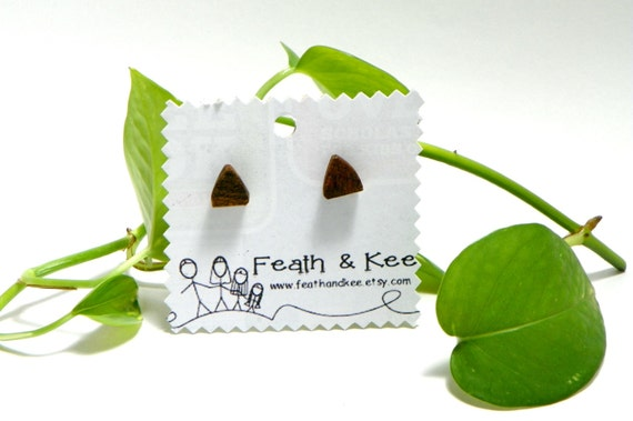 Wooden Triangle Earrings from Feath and Kee