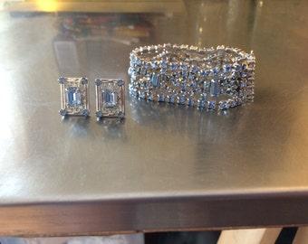 Vintage Ice Blue Rhinestone Bracelet and Earring Set, Unsigned Demi Parure