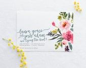 Save the Date DEPOSIT - Printable, Custom, DIY, Modern, Watercolor, Painted, Boho, Floral, Flowers, Calligraphy, Rustic, Chic (Design #74)