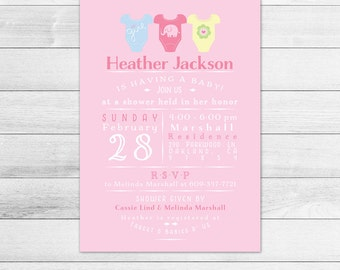 Onesies Baby Shower Invitation, Girl Digital Printable Invite Subway Style, Pink Onesie