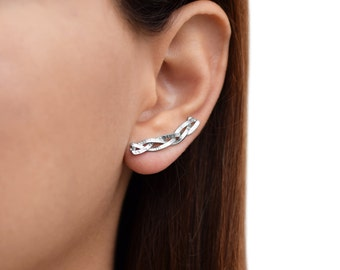 Pair of sterling silver earcuff earrings, braided silver ear climber earrings, ear sweeps, ear cuff earrings, ear crawlers, modern earrings