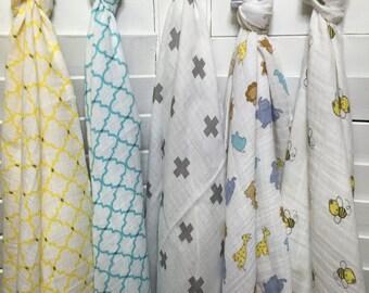 Baby Swaddle Blanket, Breathable Blanket, Muslin Baby Blanket, Muslin Swaddle Blanket, Swaddle Blanket, Muslin Blanket