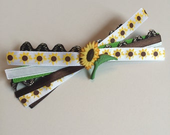 Sunflower Ribbon Medley Hair Bow on French Barrette