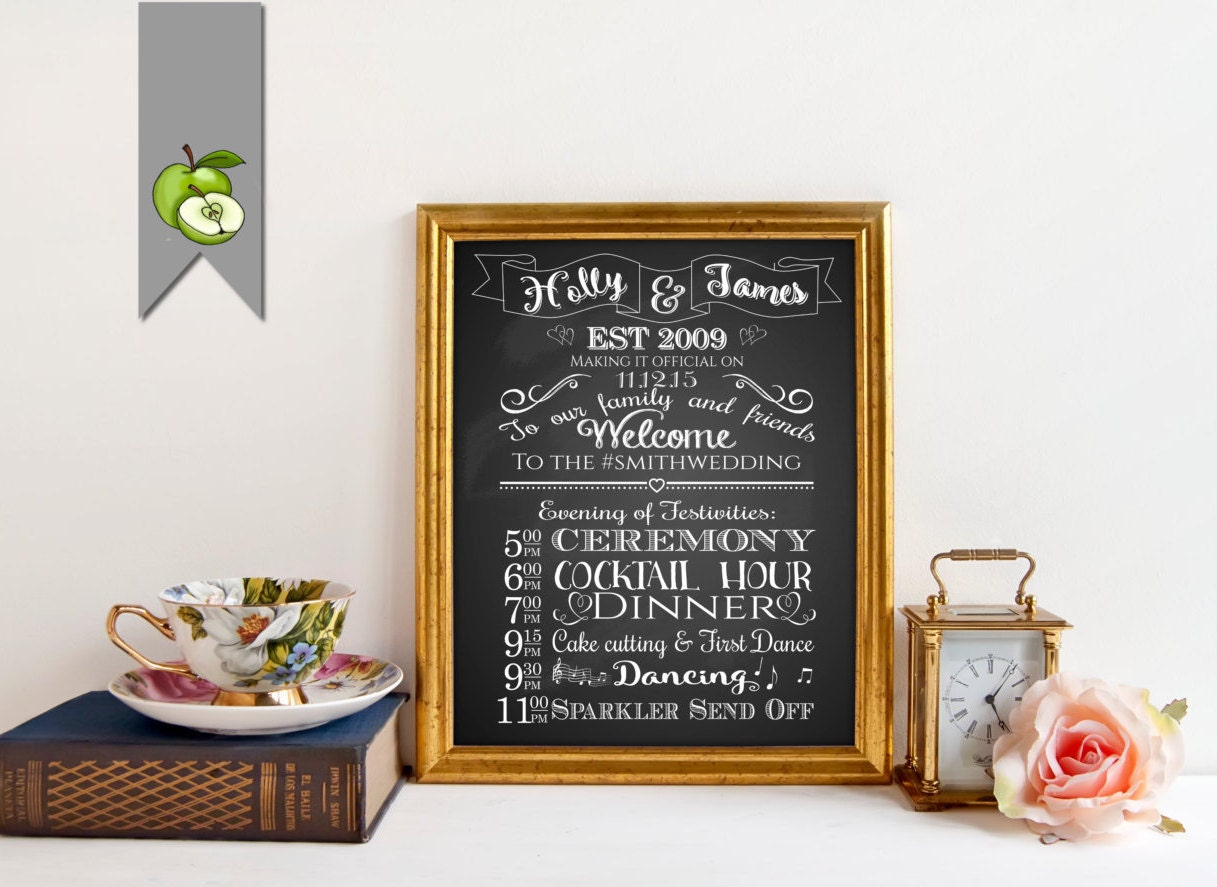 Wedding Order Of The Day: PRINTABLE Custom Wedding Program Sign Order Of Events Day