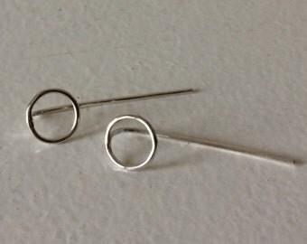 Geometric Earrings Circle Shape Sterling Silver Threader Earrings