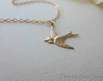 GOLD Bird Necklace 14K GOLD Filled Chain Necklace-Flying Bird Necklace-Swallow Bird Necklace-Everyday Necklace-Bird jewelry Perfect Gift