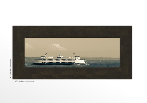 Seattle Fauntleroy Ferry to Vashon Island. Mount Rainier. Puget Sound. Pacific Northwest. Travel Photography. Framed Print. FREE SHIPPING.