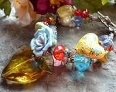 Bohemian gypsi heart  bracelet, european elegant bracelet, red glass heart and porcelain flower bracelet, boho chic bracelet, gypsi bracelet