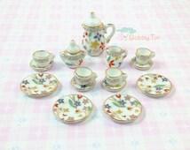 Miniature Tea Set - teapot, teacup, high tea, dollhouse, dolls cup plate, kawaii crockery, cute tea pot, porcelain tea cup, floral tea pot