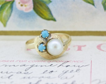 Pearl Engagement Ring | 18k Yellow Gold Ring | Unique Promise Ring | Turquoise Ring | Gemstone Ring | Boho Rings | Stacking Ring | Size 5.5