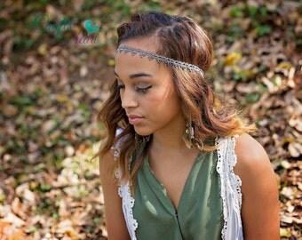 Womens Headband - Boho Headband - Silver Boho - Bohemian Headband - Forehead Headband - Hippie Headband - Adult Headband - Silver Black Boho