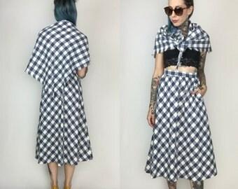 1960's Wool Midi Skirt & Bandana Matching Set XS - Checkered Handmade Blue High Waist Midi Skirt With Scarf - Matching Skirt Set Coordinates