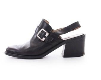 Black Leather Sandals Sling Back Sandals Chunky Sandals Buckle Shoes Black Mules Chunky Shoes 90s Sandals Women's Size US 7 / UK 5 / EUR 37