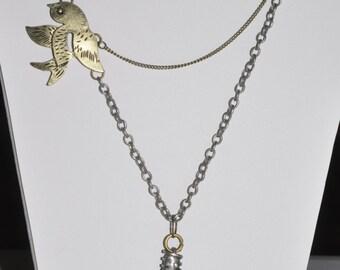 Steampunk Necklace Bird in Hand Pendant Assemblage  #590