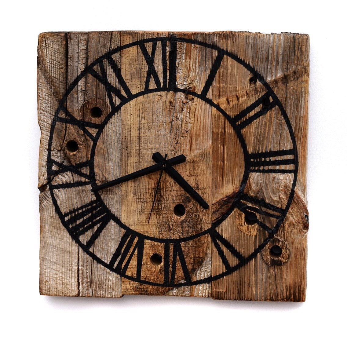 Rustic Wall Clock Reclaimed Barn Wood Clock Roman Numeral