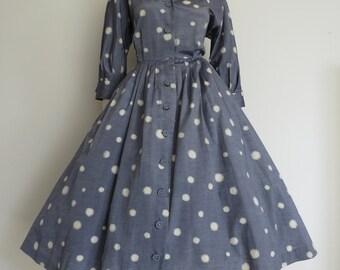 Lovely New Look 50s Grey Splotch Polka Dot Shirt Dress / Full Skirt / Large / Rockabilly / Novelty