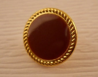 BUTTONS:  Small burgundy and gold buttons, 1/2 inch, metal, set of 8 buttons.