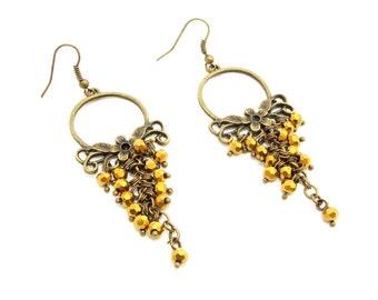 Gift mom birthday gift Chandelier earrings golden jewelry dangling earrings Tribal Jewelry statement earrings Hoop earrings gemstone jewelry