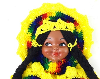1970s Doll Face Wall Hanging / Bright Colorful Yarn Art / Vintage Handmade Crochet Needlework / Yellow, Rainbow Pattern Indian Embroidery