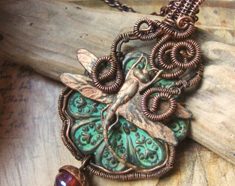Wire Wrapped Dragonfly and Flower Necklace