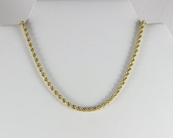 10K Yellow Gold Rope Chain Size 18 inch