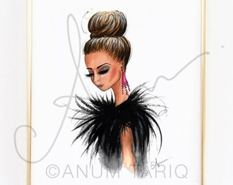 Fashion Illustration Print, Feathers, 8x10""