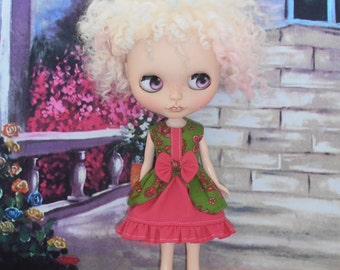 Dress For Blythe Dolls ~ Bo-Peep Hot Pink & Lime Paisley Dress ~ Blythe Doll Outfit Clothes
