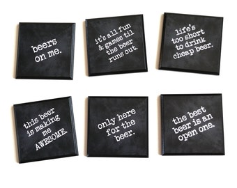 FUNNY Beer Coasters - Gifts for Beer Lovers - Funny Bar Gifts - Set of 6 Wood coasters with 6 humorous beer quotes