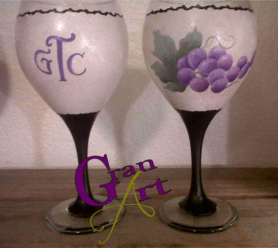 Items similar to grape wine glass hand painted wine glass for Painted wine glasses with initials