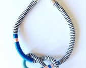 SALE REDUCED Tendai Neckpiece, Rope Necklace, Peach, Blue, Turquoise, Chevron, Tribal Necklace
