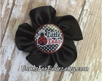 Little Lady Satin Flower Hair Clip, Girls Red and Black Lady Bug Hair Bow, Alligator Clip, Barrette, Toddler Hair Accessory, Pigtail Clips