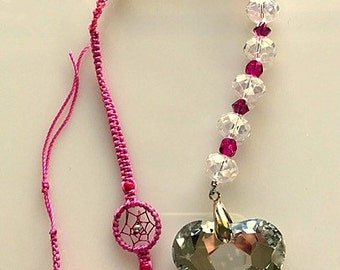 Crystal Sun Catcher/Suncatcher/Dreamcatcher and Rainbow Maker - Rose Pink With Large Mirrored Heart