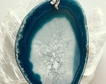 Blue and White Crystal Agate Geode Slice Pendant With Swivel Bail