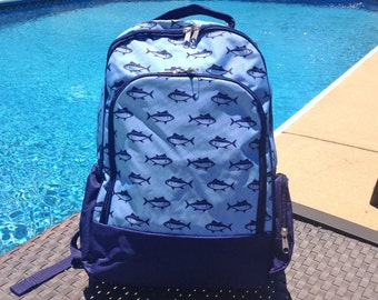 Back to School 2017! Finn Blue Fish Personalized Book Bag- Backpack- School Bag