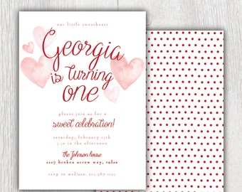 Printable valentine birthday invitation - Our little sweetheart party - Polkadot - Valentines Hearts party - First birthday - Watercolor