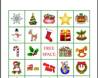 100 Printable Christmas Bingo Cards, 1 per page, Fun Christmas Party Game, immediate pdf download
