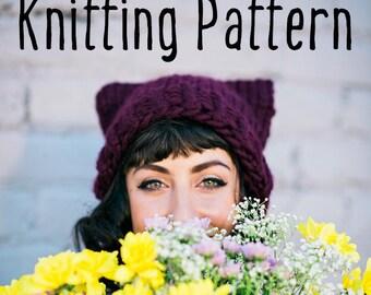 Easy Hat KNITTING PATTERN - Cat Ear Beanie ~ PDF Knitting Pattern ~ Sized Child through Adult Pattern / Knit Hat Pattern Instant Download