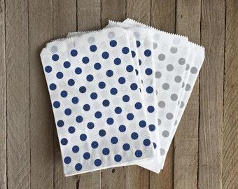 48 Navy and Silver Favor Bag--Polka Dot Favor Sack--Navy and Silver Candy Favor Bag-- Goodie Bag--Party Sack--Birthday Treat Sacks