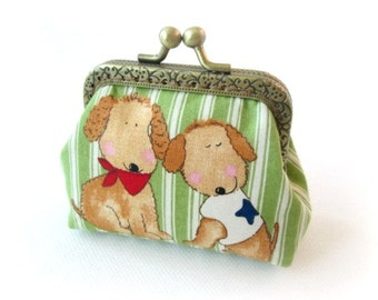 Dog frame coin pouch white green stripe, bronze kiss lock clasp pouch dog in love metal frame change purse, snap frame purse