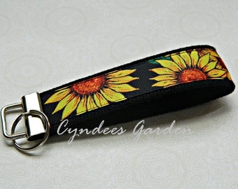 Sunflower Wristlet Key Chain Key Fob Key Holder Key Strap Key Ring - READY TO SHIP - Sunflowers - Black - Orange - Flowered - Pretty -Cyndee