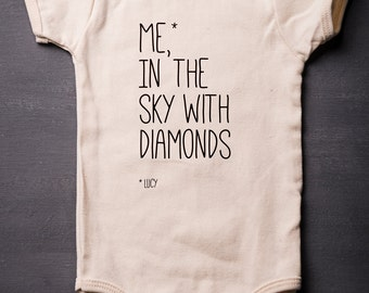 Lucy In The Sky With  - Baby Bodysuit - Organic Cotton - Beatles - Music - Screen Printed - Baby Clothes