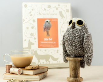 Little Owl Crochet Kit - Amigurumi Crochet Little Owl Kit - craft kit gift - crochet little owl project - little owl craft kit for adults